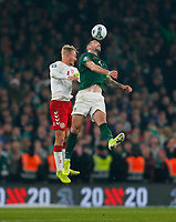 18th November 2019; Aviva Stadium, Dublin, Leinster, Ireland; European Championships 2020 Qualifier, Ireland versus Denmark; Shane Duffy (c) of Ireland wins the header - Editorial Use