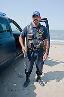 Heavily armed police at El Maviri island outside of Los Mochis, Sinaloa, Mexico. Aromas y Sabores with Chef Patricia Quintana