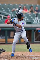 Mesa Solar Sox right fielder Charcer Burks (1) of the Chicago Cubs organization, at bat during an Arizona Fall League game against the Salt River Rafters on October 30, 2017 at Salt River Fields at Talking Stick in Scottsdale, Arizona. The Solar Sox defeated the Rafters 8-4. (Zachary Lucy/Four Seam Images)