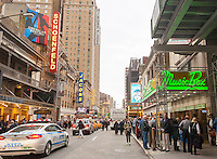 Theaters along West 45th street in New York showing Broadway productions on Tuesday, May 24, 2016. Once again the 2015-2016 Broadway season was the highest-grossing season in history according the The Broadway League with audience attendance up 1.6 percent over last season and box office grosses up 0.6 percent. (© Richard B. Levine)