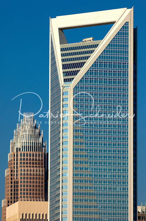 Charlotte, NC's, newest skyscraper, the Duke Energy Center tower, changed the shape of this southern city's skyline when construction wrapped up in 2009-2010. Behind building to left is Bank of America Corporate Tower.