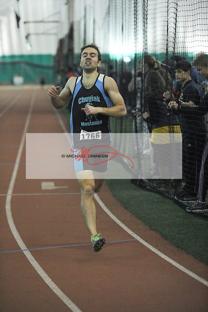Chugiak's Ty Jordan wins the boys 800-meter run in the pentathlon event at the Big C Relays Saturday, April 2, 2016. Photo for the Star by Michael Dinneen