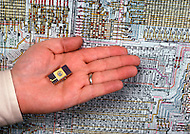Silicon Valley, California - February 1983. An integrated miniature circuit is part of the material seized by the police in Santa Clara in an espionage case. Silicon Valley is the largest high-tech manufacturing center in the United States, and is most famous for innovations in software and Internet services.