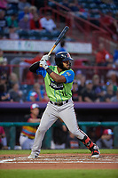 Las Ardillas Voladoras de Richmond Heliot Ramos (18) at bat during an Eastern League game against the Erie Piñatas on August 28, 2019 at UPMC Park in Erie, Pennsylvania.  Richmond defeated Erie 4-3 in the second game of a doubleheader.  (Mike Janes/Four Seam Images)