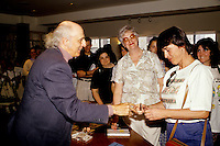 1992 File photo, Montreal (QC) CANADA<br /> <br /> Gilles Vignault sign autographs for fans <br /> Photo : (c)Pierre Roussel