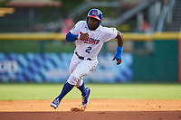 Buffalo Bisons right fielder Dwight Smith Jr. (2) running the bases during a game against the Syracuse Chiefs on July 3, 2017 at Coca-Cola Field in Buffalo, New York.  Buffalo defeated Syracuse 6-2.  (Mike Janes/Four Seam Images)