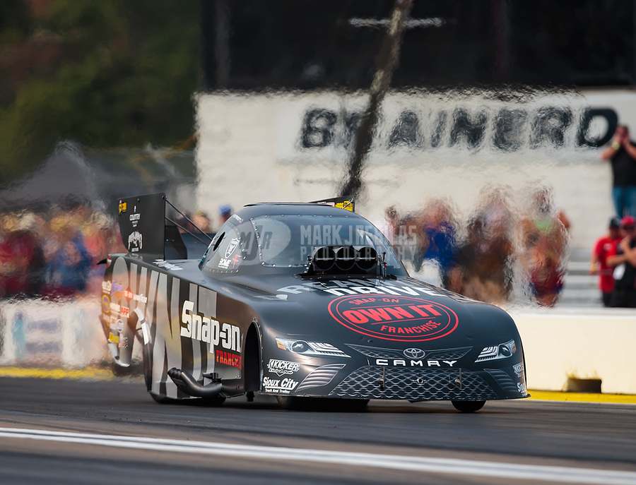 Aug 17, 2018; Brainerd, MN, USA; NHRA funny car driver Cruz Pedregon during qualifying for the Lucas Oil Nationals at Brainerd International Raceway. Mandatory Credit: Mark J. Rebilas-USA TODAY Sports