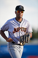 Jupiter Hammerheads center fielder Tristan Pompey (14) jogs off the field during a game against the Dunedin Blue Jays on August 14, 2018 at Dunedin Stadium in Dunedin, Florida.  Jupiter defeated Dunedin 5-4 in 10 innings.  (Mike Janes/Four Seam Images)
