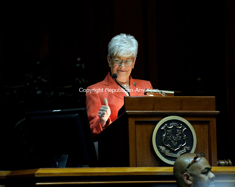 Hartford, CT- 03 June 2015-060315CM13- Connecticut Lieutenant Governor Nancy Wyman gives a thumbs up during a budget proposal inside the Senate Chamber at the State Capitol in Hartford on Wednesday.   Christopher Massa Republican-American
