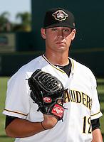 Bradenton Marauders pitcher Nate Baker #12 before a game against the Jupiter Hammerheads at McKechnie Field on June 22, 2011 in Bradenton, Florida.  Bradenton defeated Jupiter 5-4.  (Mike Janes/Four Seam Images)