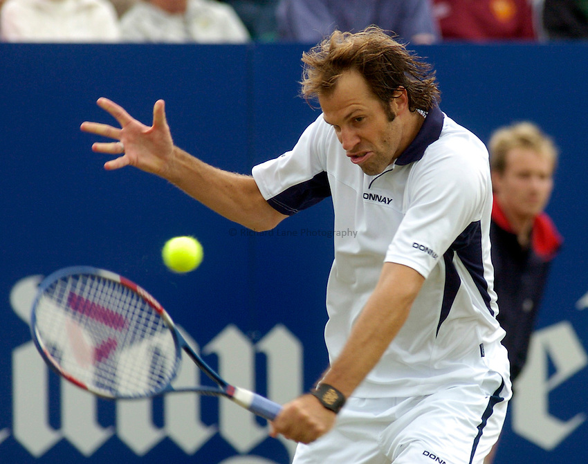 Photo. Glyn Thomas. .Nottingham Open Tennis, day 2..15/06/2004..Greg Rusedski on his way to his first round win over Karol Kucera.
