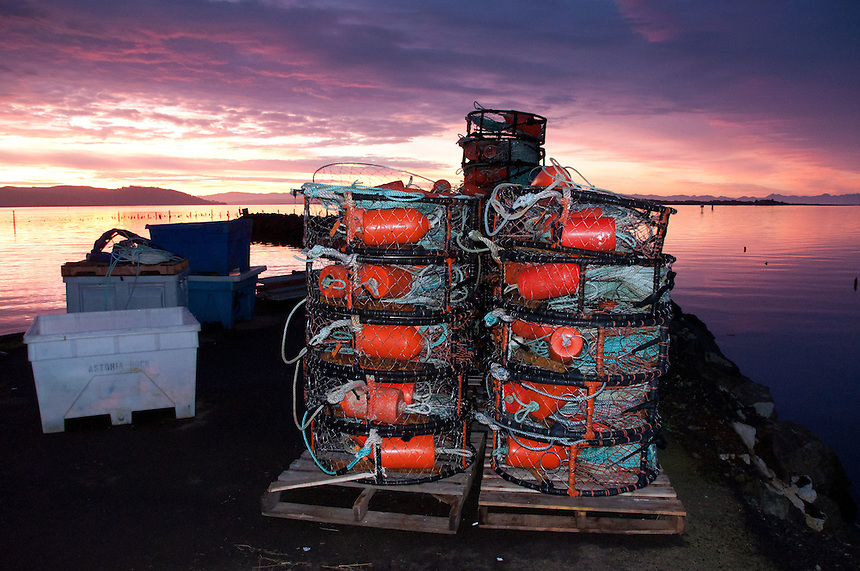 Crab Traps at Dawn at Ilwaco Harbor, Ilwaco, Washington, US