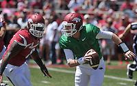 NWA Democrat-Gazette/Michael Woods --04/25/2015--w@NWAMICHAELW... University of Arkansas quarterback Austin Allen scrambles away from defensive lineman JaMichael Winston during the 2015 Red-White game Saturday afternoon at Razorback Stadium in Fayetteville.