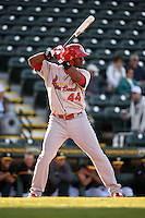 Palm Beach Cardinals outfielder Anthony Garcia (44) during a game against the Bradenton Marauders on April 9, 2014 at McKechnie Field in Bradenton, Florida.  Palm Beach defeated Bradenton 3-1.  (Mike Janes/Four Seam Images)
