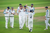 Picture by Allan McKenzie/SWpix.com - 07/09/2017 - Cricket - Specsavers County Championship - Yorkshire County Cricket Club v Middlesex County Cricket Club - Headingley Cricket Ground, Leeds, England - Yorkshire's Ryan Sidebottom is congratulated on dismissing Middlesex's Sam Robson.