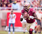 Florida State quarterback James Blackman rolls our against Syracuse in the first half of an NCAA college football game in Tallahassee, Fla., Saturday, Nov. 4, 2017. Florida State defeated Syracuse 27-24. (AP Photo/Mark Wallheiser)