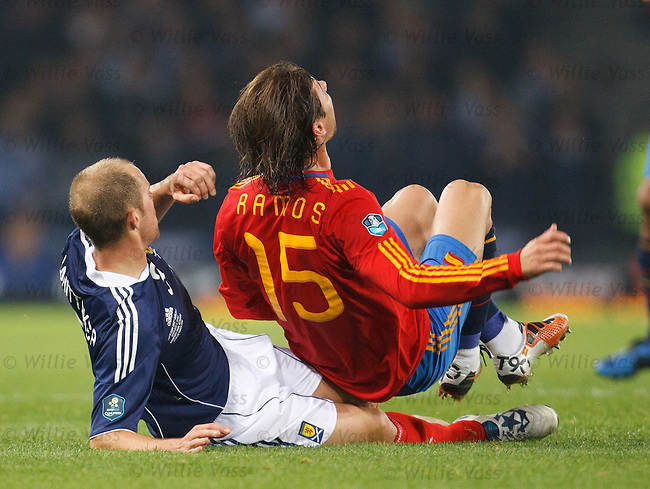 Steven Whittaker slides on on Sergio Ramos and is shown a second yellow and sent off