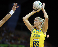 17.10.2012 Australia's Catherine Cox in action during the Australia v South Africa netball test match as part of the Quad Series played in Newcastle Australia. Mandatory Photo Credit ©Michael Bradley.