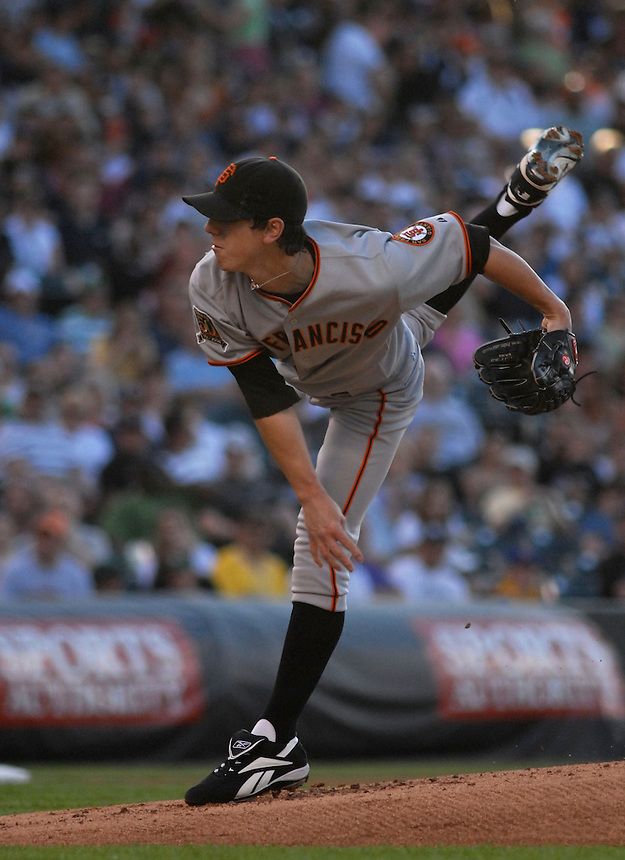 20 May 2008: Giants starting pitcher Tim Lincecum delivers a pitch during a regular season game between the San Francisco Giants and the Colorado Rockies at Coors Field in Denver, Colorado. The Giants beat the Rockies 6-5. *****For editorial use only*****