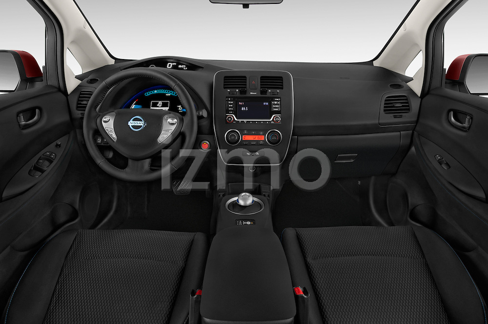 Stock photo of straight dashboard view of 2017 Nissan LEAF S 5 Door Hatchback Dashboard
