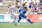 GER - Mannheim, Germany, April 15: During the field hockey 1. Bundesliga match between Mannheimer HC (blue) and Rot-Weiss Koeln (white) on April 15, 2018 at Am Neckarkanal in Mannheim, Germany. Final score 2-2. (Photo by Dirk Markgraf / www.265-images.com) *** Local caption *** Lucas Vila #12 of Mannheimer HC