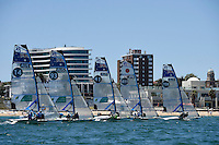 49er FX / Women's starting action<br /> ISAF Sailing World Cup Final - Melbourne<br /> St Kilda sailing precinct, Victoria<br /> Port Phillip Bay Wednesday 7 Dec 2016<br /> &copy; Sport the library / Jeff Crow