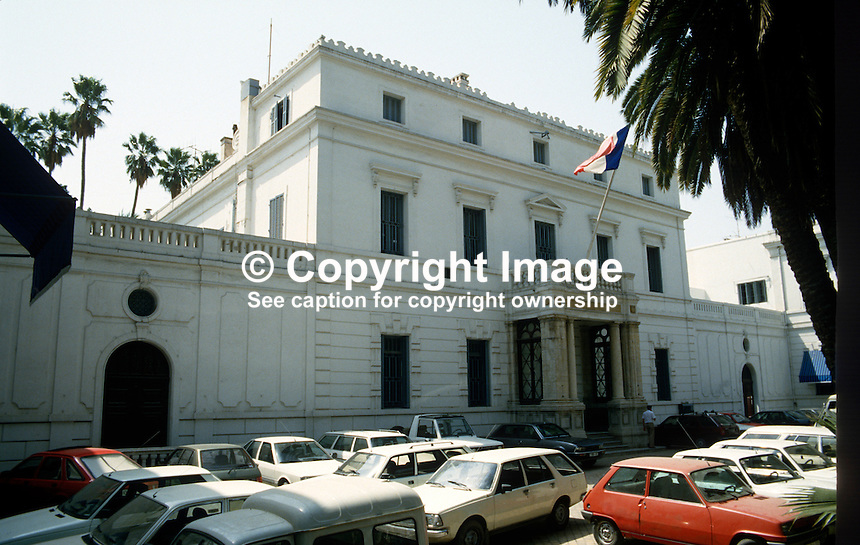 French Embassy, Tunis, Tunisia, 19871042FET..Copyright Image from Victor Patterson, 54 Dorchester Park, Belfast, UK, BT9 6RJ..Tel: +44 28 9066 1296.Mob: +44 7802 353836.Voicemail +44 20 8816 7153.Skype: victorpattersonbelfast.Email: victorpatterson@me.com.Email: victorpatterson@ireland.com (back-up)..IMPORTANT: If you wish to use this image or any other of my images please go to www.victorpatterson.com and click on the Terms & Conditions. Then contact me by email or phone with the reference number(s) of the image(s) concerned.