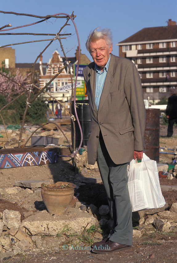Colin Ward anarchist author (writer of  The Allotment) and the founder of the Squatter movement after the second world War; visiting the site of the Wandsworth Eco village
