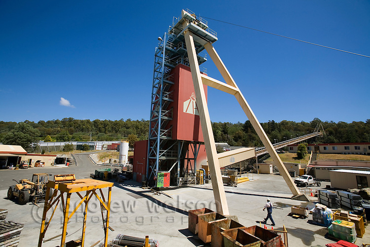 The headframe of the Beaconsfield gold mine.  The mine is famous for the 2006 mine collapse which saw the rescue of two miners trapped underground for two weeks.  Beaconsfield, Tasmania, Australia