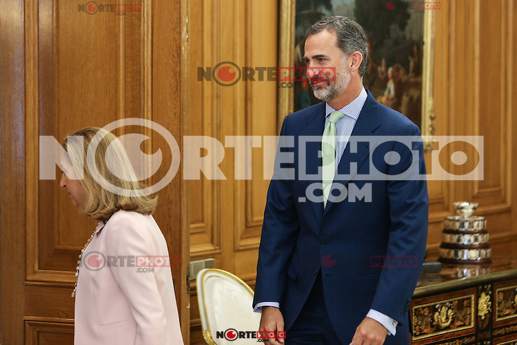 Spanish king Felipe VI<br />  and Spanish Ana Maria Pastor Julian, president of the Congress of Deputies during the audience at Zarzuela palace in Madrid. September 01, 2016. (ALTERPHOTOS/Rodrigo Jimenez) /NORTEPHOTO