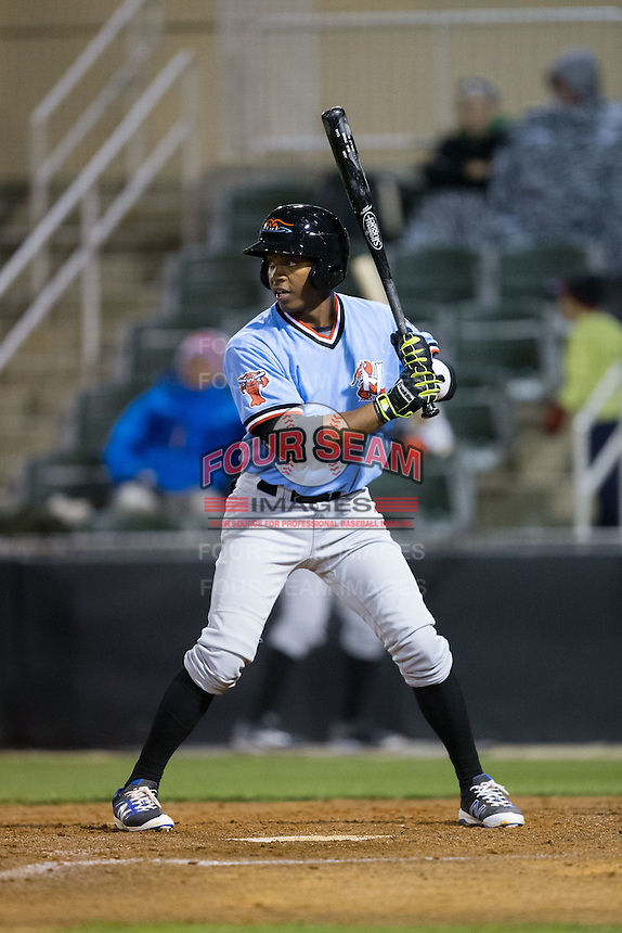 Darius Day (3) of the Hickory Crawdads at bat against the Kannapolis Intimidators at Kannapolis Intimidators Stadium on April 9, 2016 in Kannapolis, North Carolina.  The Crawdads defeated the Intimidators 6-1 in 10 innings.  (Brian Westerholt/Four Seam Images)