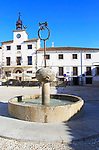 Traditional architecture Plaza Mayor, village of Cuacos de Yuste, La Vera, Extremadura, Spain