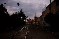 Train tracks. Night bike riding in Mexico City with Kurt Holander, Luis Mdahuar and Mike Smith.  Mexico DF May 30, 2007