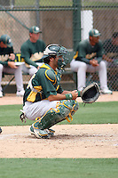Jonathan Johnston #44 of the Oakland Athletics plays in an extended spring training game against the Chicago Cubs at the Athletics minor league complex on May 18, 2011  in Phoenix, Arizona. .Photo by:  Bill Mitchell/Four Seam Images.
