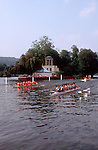 Rowing, Henley Royal Regatta, Two men's eights rowing past Temple Island on England's famous course, Thames River, Henley on Thames, England, Great Britain, United Kingdom, Europe,.