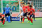 The Hague, Netherlands, June 10: During the field hockey group match (Men - Group B) between Germany and Korea on June 10, 2014 during the World Cup 2014 at Kyocera Stadium in The Hague, Netherlands. Final score 6-1 (3-0) (Photo by Dirk Markgraf / www.265-images.com) *** Local caption *** Myungho Lee #1 of Korea, Oliver Korn #18 of Germany