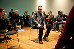 Veteran Scott Schumacher (C) takes part in a role playing session during the Veteran-Civilian Dialogue at Intersections International on February 4, 2011 in New York City.  (PHOTOGRAPH BY MICHAEL NAGLE)