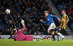 Dean Shiels fires past keeper Greg Paterson to score his second goal of the match for Rangers