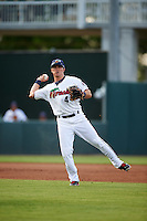 Fort Myers Miracle third baseman Logan Wade (4) throws to first during a game against the Brevard County Manatees on April 13, 2016 at Hammond Stadium in Fort Myers, Florida.  Fort Myers defeated Brevard County 3-0.  (Mike Janes/Four Seam Images)