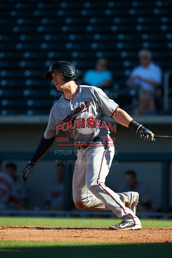 Scottsdale Scorpions catcher Mitch Garver (16) at bat during an Arizona Fall League game against the Mesa Solar Sox on October 19, 2015 at Sloan Park in Mesa, Arizona.  Scottsdale defeated Mesa 10-6.  (Mike Janes/Four Seam Images)