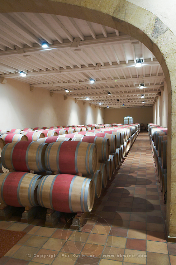 barrel aging cellar chateau phelan segur st estephe medoc bordeaux france