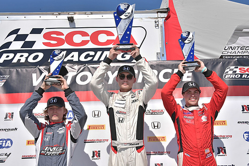 2017 F4 US Championship<br /> Rounds 1-2-3<br /> Homestead-Miami Speedway, Homestead, FL USA<br /> Sunday 9 April 2017<br /> Race #3 winner, Timo Reger with second place Austin Kaszuba and third place with Raphael Forcier<br /> World Copyright: Dan R. Boyd/LAT Images