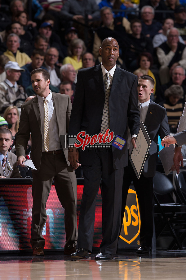 Wake Forest Demon Deacons head coach Danny Manning during first half action against the Duke Blue Devils at the LJVM Coliseum on January 7, 2015 in Winston-Salem, North Carolina.  The Blue Devils defeated the Demon Deacons 73-65.  (Brian Westerholt/Sports On Film)