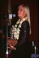 Wendy Botha (AUS) ASP Awards Banquet receiving her World Surfing Champion trophy. circa 1992 - Photo: joliphotos.com