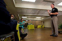 NWA Democrat-Gazette/JASON IVESTER <br /> Sgt. Maj. Lance Nutt with Sheep Dog, talks on Wednesday, Sept. 16, 2015, inside the Center for Nonprofits in Rogers on a planned project for the center.