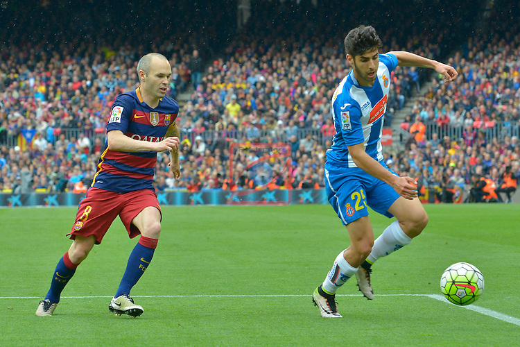 League BBVA 2015/2016 - Game: 37.<br /> FC Barcelona vs RCD Espanyol: 5-0.<br /> Marco Asensio vs Andres Iniesta.