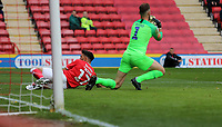 Declan Rudd of Preston North End collects the ball as Macauley Bonne of Charlton Athletic misses the ball during Charlton Athletic vs Preston North End, Sky Bet EFL Championship Football at The Valley on 3rd November 2019