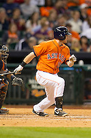 Houston Astros outfielder Robbie Grossman (19) follows through on his swing during the MLB baseball game against the Detroit Tigers on May 3, 2013 at Minute Maid Park in Houston, Texas. Detroit defeated Houston 4-3. (Andrew Woolley/Four Seam Images).
