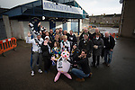 Edinburgh City supporters pictured outside Links Park before their SPFL League 2 fixture against Montrose. It was Edinburgh City's first Scottish League visit to Montrose since the club were promoted from the Lowland League the previous season. City won the match 1-0 to record their first league win of the season, captain Dougie Gair scoring the winner from the penalty spot in the 68th minute in a match watched by 388 spectators.