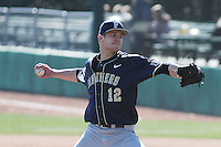 University of Pittsburgh pitcher Hobie Harris #12 pitching during a game against the Coastal Carolina University Chanticleers at Ticketreturn.com Field at Pelicans Ballpark on February 16, 2014 in Myrtle Beach, South Carolina. Pittsburgh defeated Coastal Carolina by the score of 10-6. (Robert Gurganus/Four Seam Images)